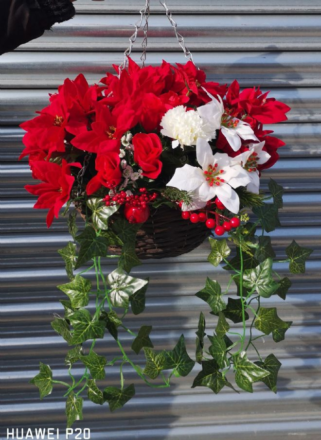 Rose & Poinsettia Christmas Hanging Basket - Red & White
